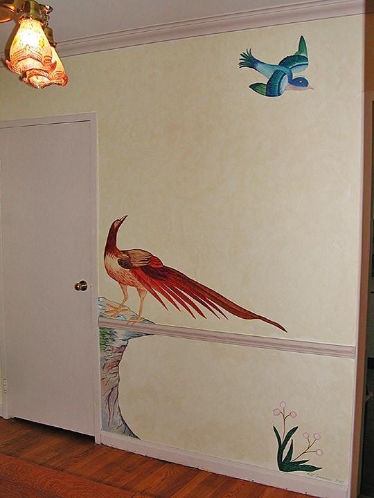 Pheasant Detail/Japanese Print Dining Room Mural