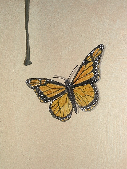 Monarch Close-up painted in mural by Ashley Spencer