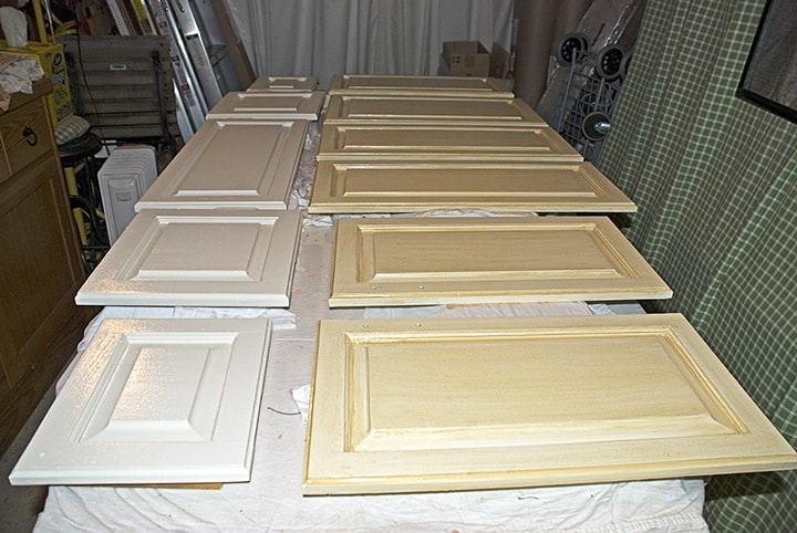 Glazed Kitchen cabinets before and after by Ashley Spencer