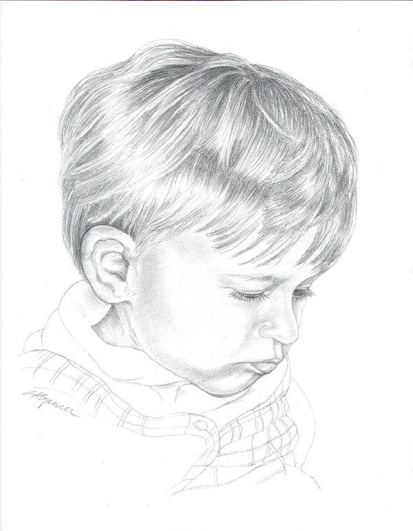 A Grandson's Portrait in Graphite, Fine Art, Ashley Spencer, Portrait, Graphite