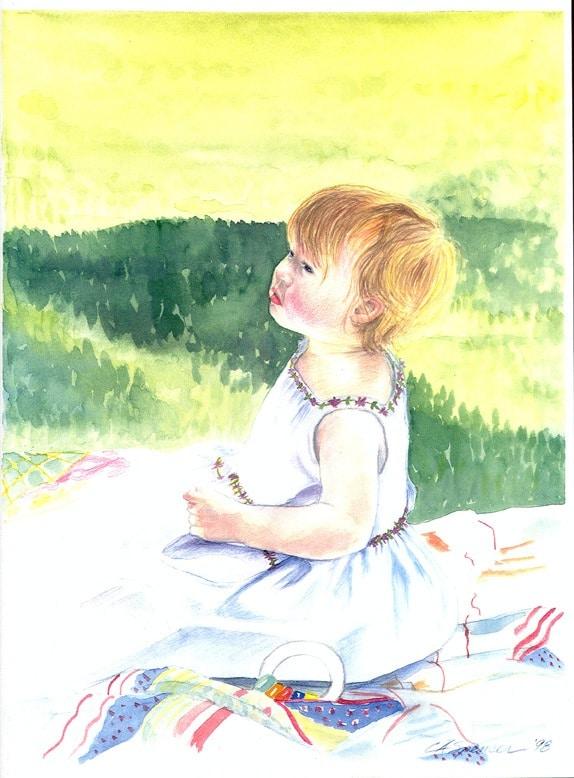 A Daughter's Portrait in Watercolor, Fine Art, Ashley Spencer, Watercolor, Portrait,